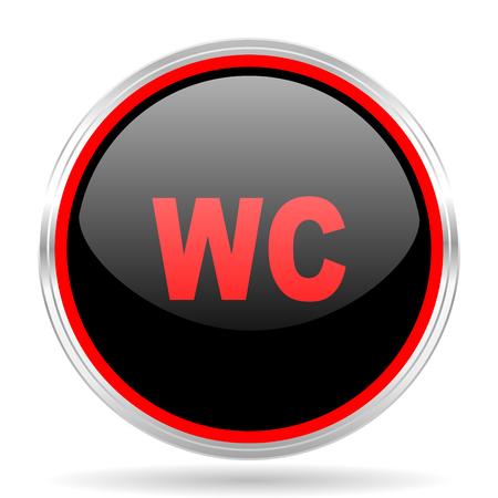 red metallic: toilet black and red metallic modern web design glossy circle icon Stock Photo