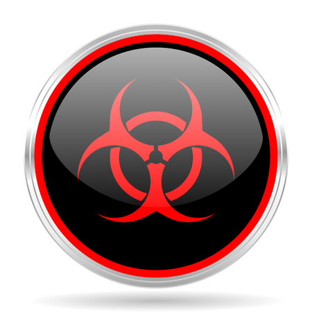 bacterioa: biohazard black and red metallic modern web design glossy circle icon