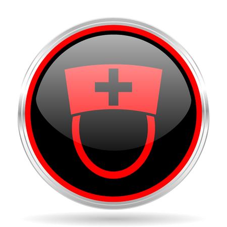 red metallic: nurse black and red metallic modern web design glossy circle icon Stock Photo