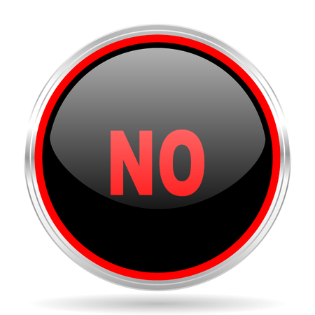 negate: no black and red metallic modern web design glossy circle icon Stock Photo
