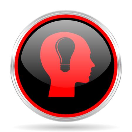 red metallic: head black and red metallic modern web design glossy circle icon
