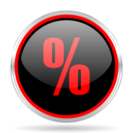 red metallic: percent black and red metallic modern web design glossy circle icon Stock Photo
