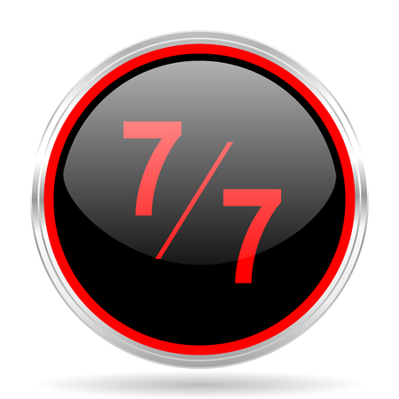 red metallic: 7 per 7 black and red metallic modern web design glossy circle icon