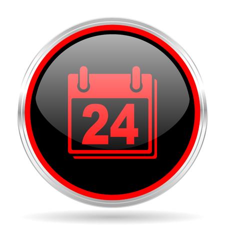 red metallic: calendar black and red metallic modern web design glossy circle icon