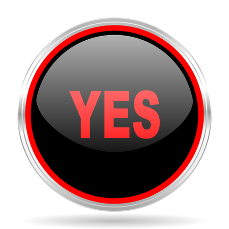 proceed: yes black and red metallic modern web design glossy circle icon