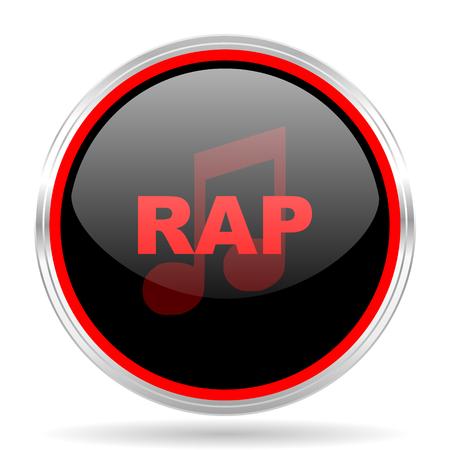 listen live stream: rap music black and red metallic modern web design glossy circle icon