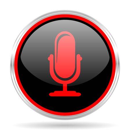 red metallic: microphone black and red metallic modern web design glossy circle icon