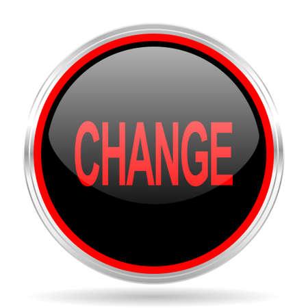red metallic: change black and red metallic modern web design glossy circle icon Stock Photo