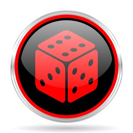 red metallic: game black and red metallic modern web design glossy circle icon