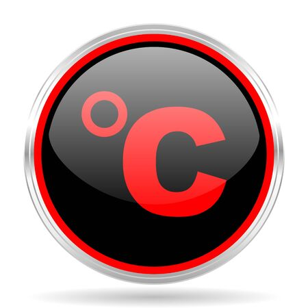 celcius: celsius black and red metallic modern web design glossy circle icon