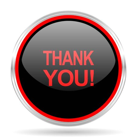 te negro: thank you black and red metallic modern web design glossy circle icon Foto de archivo
