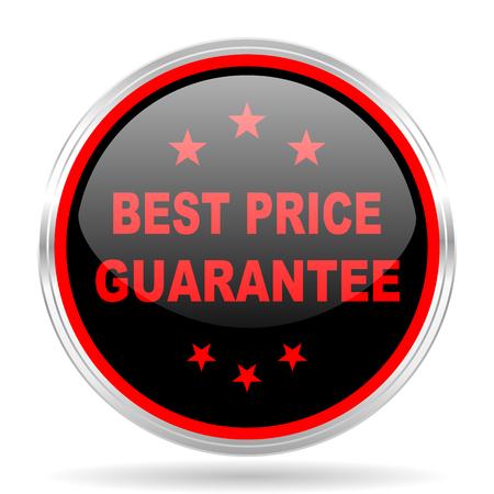 red metallic: best price guarantee black and red metallic modern web design glossy circle icon Stock Photo