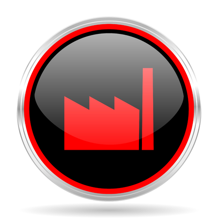 industrialist: factory black and red metallic modern web design glossy circle icon Stock Photo