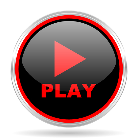 red metallic: play black and red metallic modern web design glossy circle icon Stock Photo