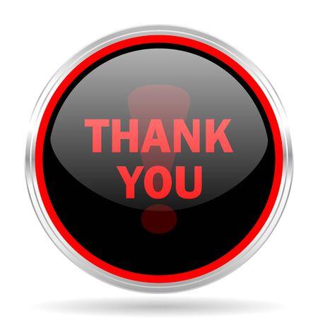 you black: gracias metálico negro y rojo de diseño web moderno círculo brillante del icono