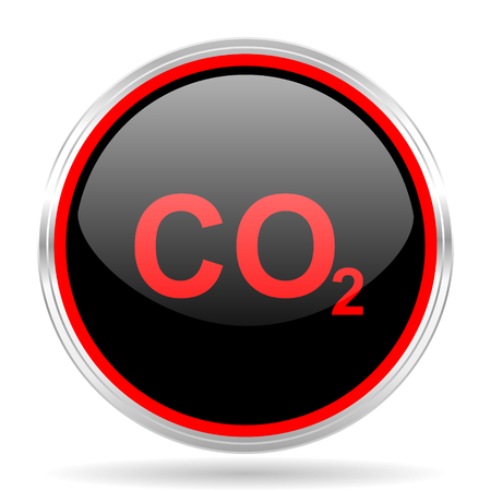 dioxido de carbono: carbon dioxide black and red metallic modern web design glossy circle icon
