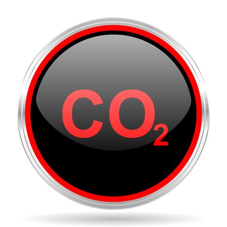 dioxido de carbono: el dióxido de carbono metálico negro y rojo de diseño web moderno círculo brillante del icono Foto de archivo