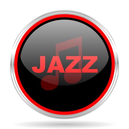 listen live stream: jazz music black and red metallic modern web design glossy circle icon