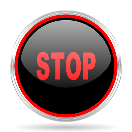 proscribed: stop black and red metallic modern web design glossy circle icon