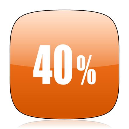 40: 40 percent orange square glossy web icon
