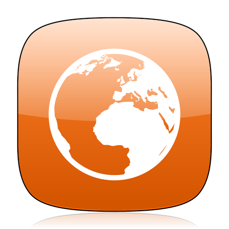 parallels: earth orange square glossy web icon