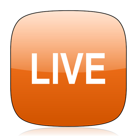 news cast: live orange square glossy web icon