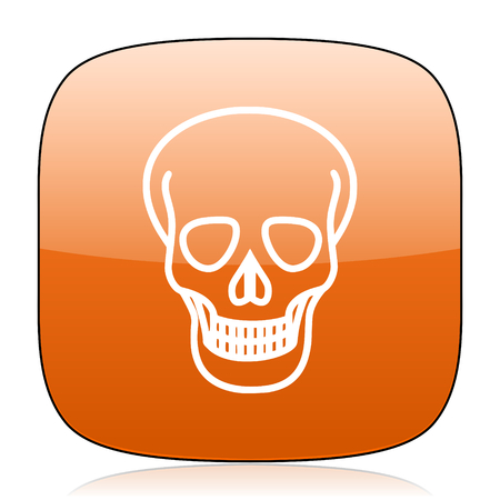 pirating: skull orange square glossy web icon