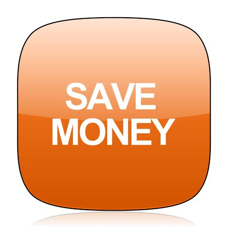 signos de pesos: ahorrar dinero naranja brillante Web icono cuadrado
