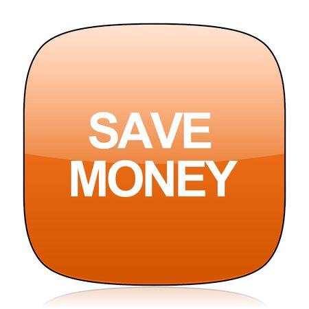dollar signs: save money orange square glossy web icon Stock Photo