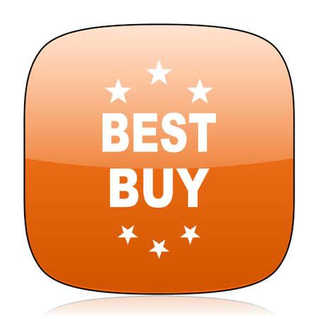 best buy: best buy orange square glossy web icon Stock Photo