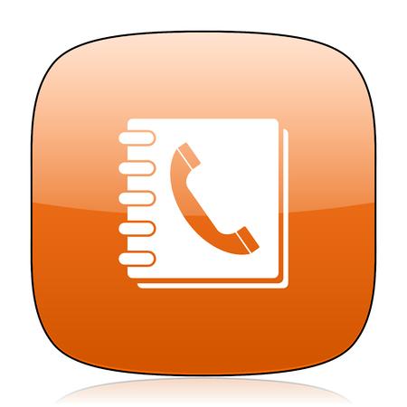 phonebook: phonebook orange square glossy web icon