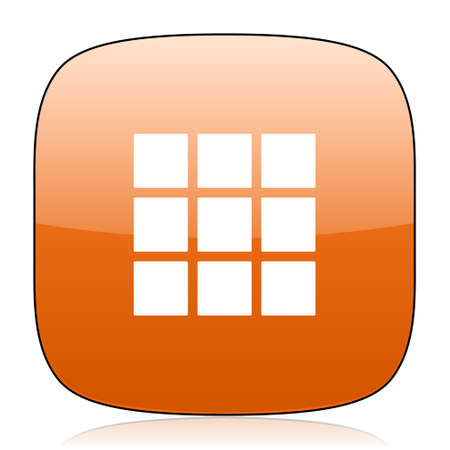 thumbnails: thumbnails grid orange square glossy web icon