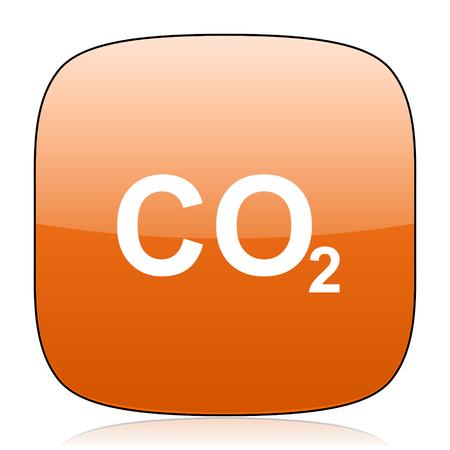 dioxide: carbon dioxide orange square glossy web icon Stock Photo