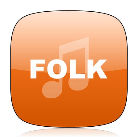 folk music: folk music orange square glossy web icon