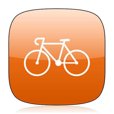 original bike: bicycle orange square glossy web icon Stock Photo