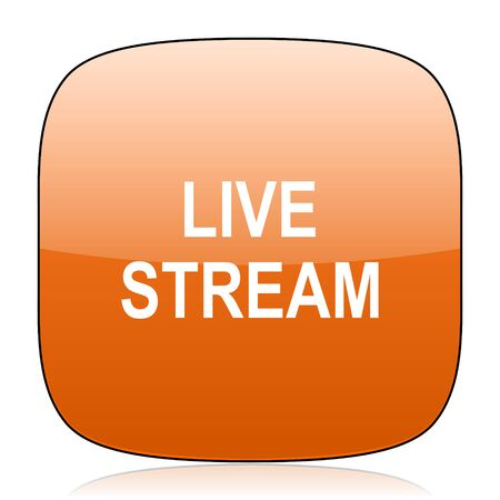 news cast: live stream orange square glossy web icon