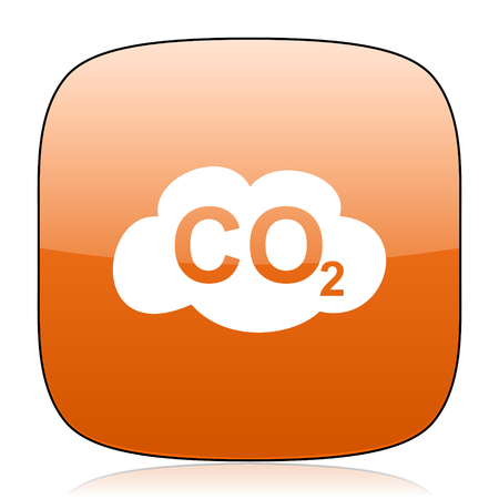 dioxide: carbon dioxide orange square glossy web icon Stock Photo
