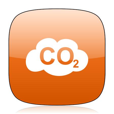 dioxido de carbono: el dióxido de carbono de color naranja brillante cuadrada del icono del Web
