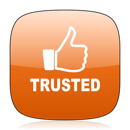 trusted: trusted orange square glossy web icon