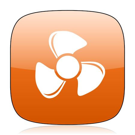 airflow: fan orange square glossy web icon