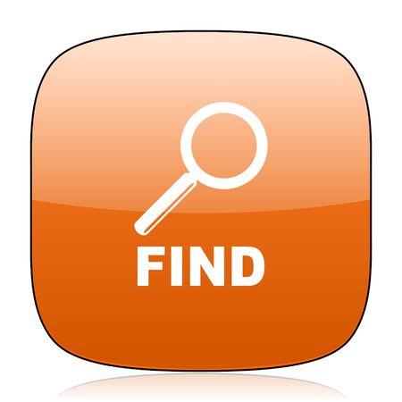 square button: find orange square glossy web icon