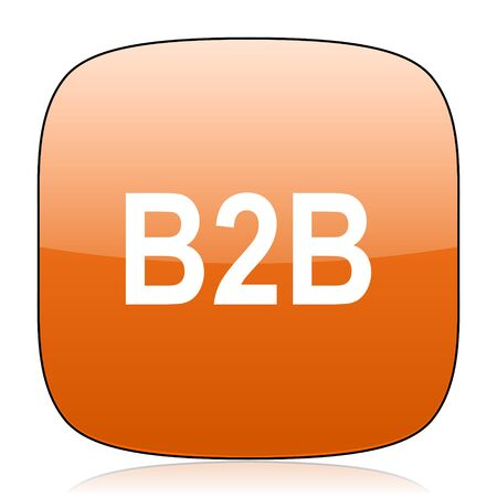 b2b: b2b naranja cuadrada icono brillante del Web Foto de archivo
