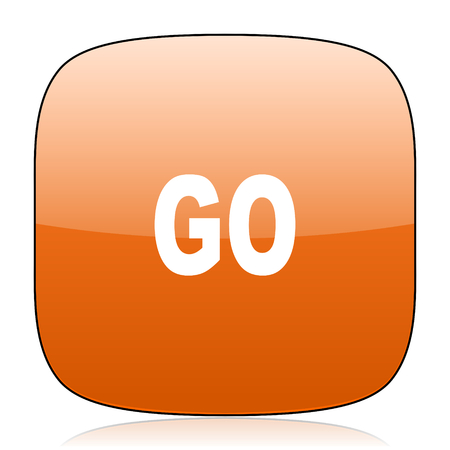 proceed: go orange square glossy web icon