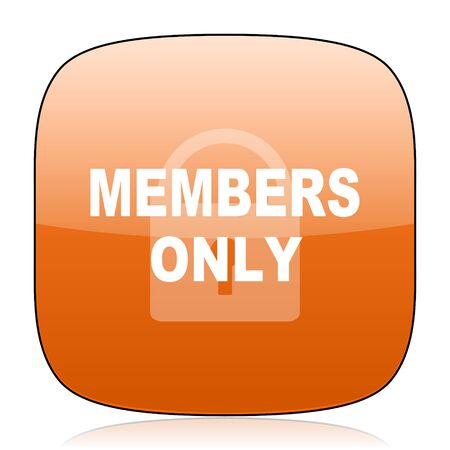 members only: members only orange square glossy web icon Stock Photo