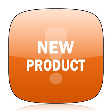 new product: new product orange square glossy web icon
