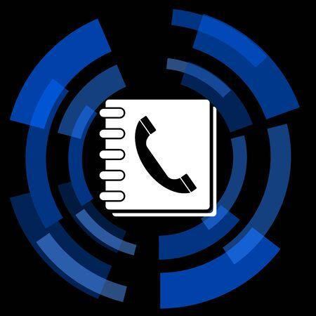 phonebook: phonebook black background simple web icon Stock Photo