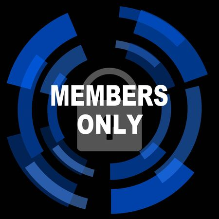 only members: members only black background simple web icon Stock Photo
