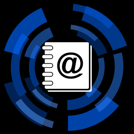 address book: address book black background simple web icon Stock Photo