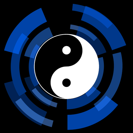 ying and yang: ying yang black background simple web icon