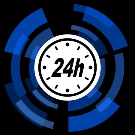 24h: 24h black background simple web icon